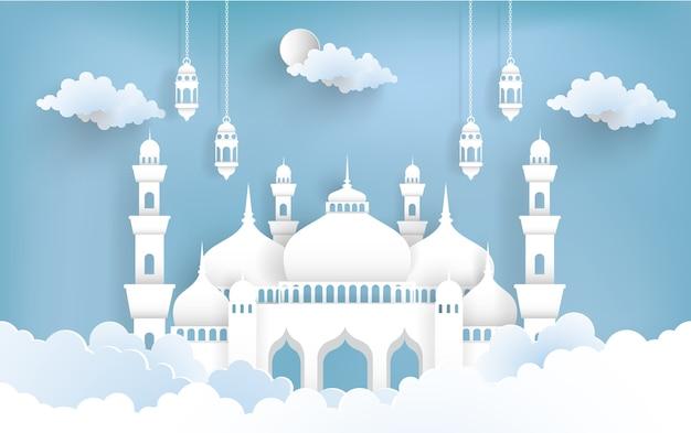 Ramadan kareem com ilustrações de mesquitas e lanternas