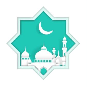 Ramadan kareem com ilustrações de mesquitas