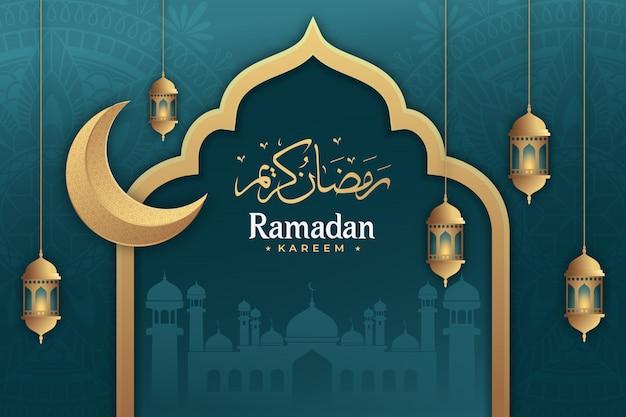 Ramadan kareem com lanternas