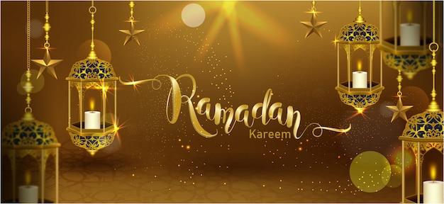 Ramadan kareem com lua crescente ouro luxo crescente