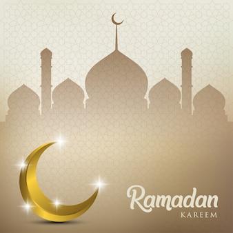 Ramadan kareem com lua dourada e cúpula de mesquita