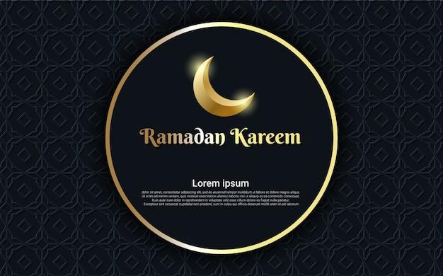 Ramadan kareem com lua e círculo fundo dourado