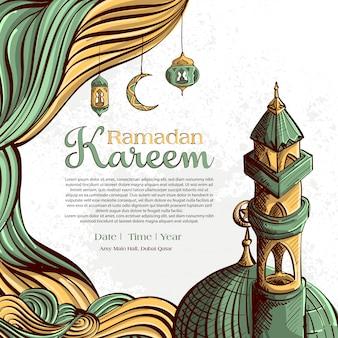 Ramadan kareem com mão desenhado ornamento ilustração islâmica sobre fundo branco grunge