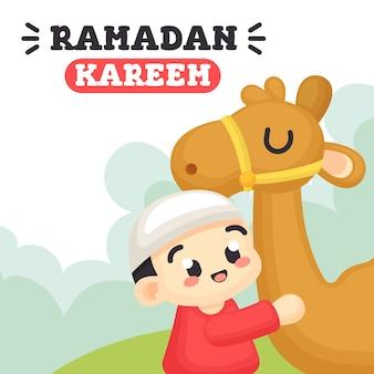 Ramadan kareem com menino bonito e ilustração de camelo