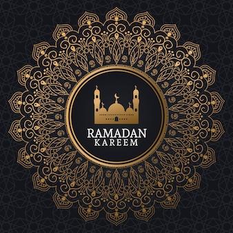 Ramadan kareem com mesquita e arte islâmica