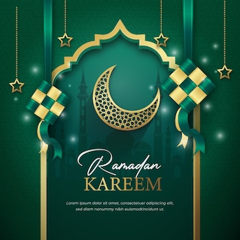Ramadan kareem com modelo de postagem de mídia social ketupat