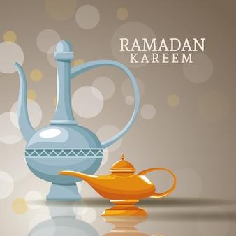 Ramadan kareem com símbolos islâmicos