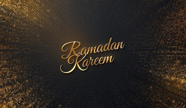 Ramadan kareem com sinal dourado ob fundo preto com brilhos dourados