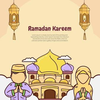 Ramadan kareem com uma mesquita e dois personagens