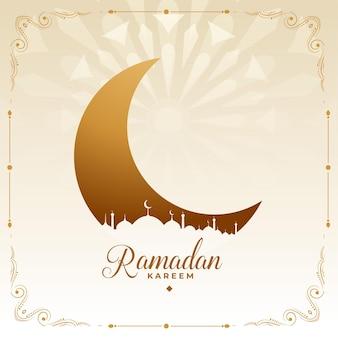 Ramadan kareem deseja cartão em estilo islâmico