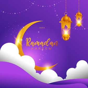 Ramadan kareem design islâmico lua crescente, nuvem e lanterna.