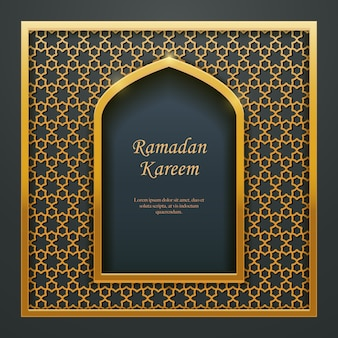 Ramadan kareem design rendilhado de porta