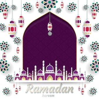 Ramadan kareem do corte do papel do projeto dos convites islâmico. ilustração vetorial
