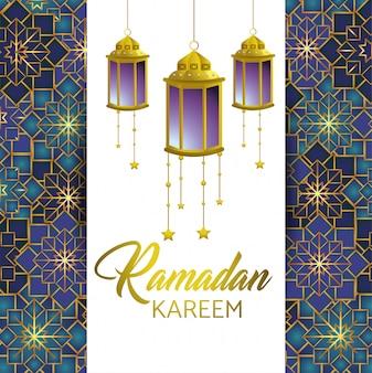 Ramadan kareem e cartão com lâmpadas e estrelas