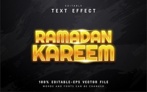 Ramadan kareem - efeito de texto estilo neon amarelo