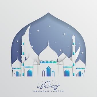 Ramadan kareem elegante com mesquita