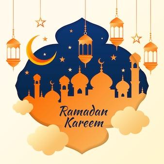 Ramadan kareem evento design plano