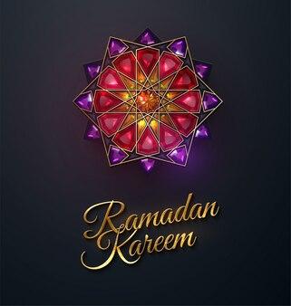 Ramadan kareem. flor abstrata girih incrustada com cristais vermelhos. ilustração. design de ornamento de jóias islâmicas. eid mubarak. decoração de ramadã do mês sagrado muçulmano.