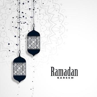 Ramadan kareem fundo de temporada com lâmpadas de suspensão