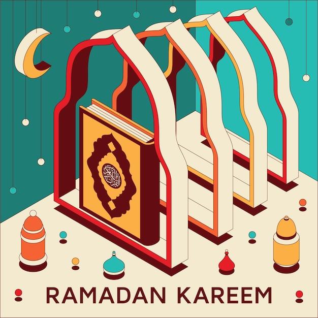 Ramadan kareem fundo isométrico islâmico arco árabe lanternas e corão