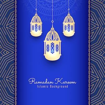 Ramadan kareem fundo religioso com lanternas