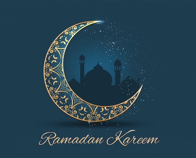 Ramadan kareem golden ornamentado