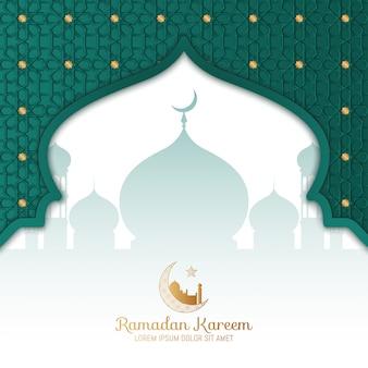 Ramadan kareem greeting card design de vetor islâmico