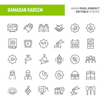 Ramadan kareem icon set