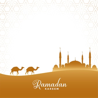 Ramadan kareem ilustração cena do deserto com camelo e mesquita