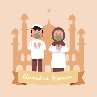 Ramadan kareem, ilustração de desenho animado islâmico religioso