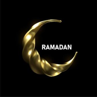 Ramadan kareem. ilustração religiosa da lua crescente torcida dourada. design de cartão postal do ramadã mês sagrado muçulmano.