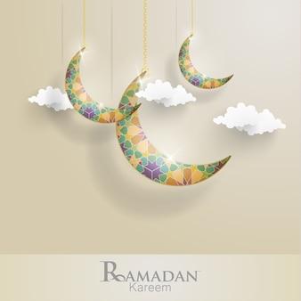 Ramadan kareem. ilustrações crescentes. ornamentos islâmicos com lindas cores