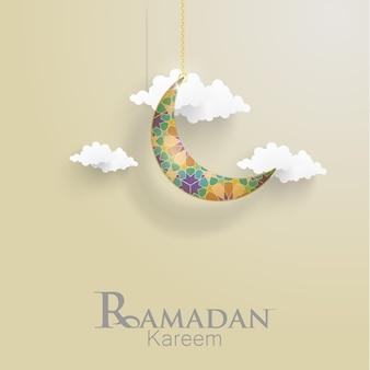 Ramadan kareem. ilustrações crescentes para cartões e modelo