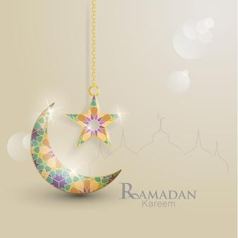 Ramadan Kareem. ilustrações de crescente e estrelas. Ornamentos islâmicos com lindas cores
