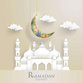 Ramadan kareem. ilustrações de crescente e mesquitas.
