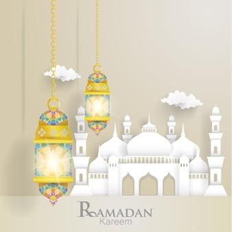 Ramadan kareem. ilustrações de lanternas e mesquitas.