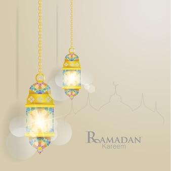 Ramadan kareem. ilustrações de lanternas. ornamentos islâmicos com lindas cores