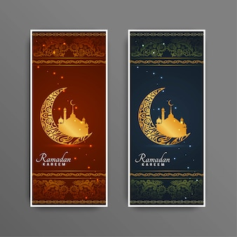 Ramadan kareem islamic festival banners conjunto