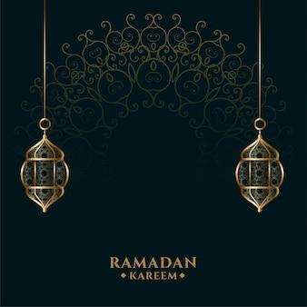 Ramadan kareem islâmica lanterna de fundo dourado