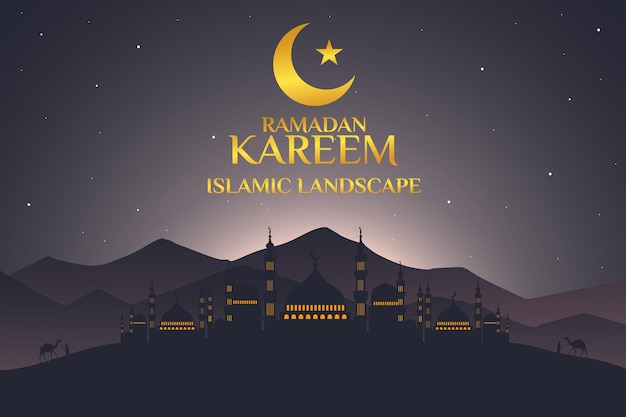 Ramadan kareem islâmica paisagem mesquita plana montanha céu noite linda