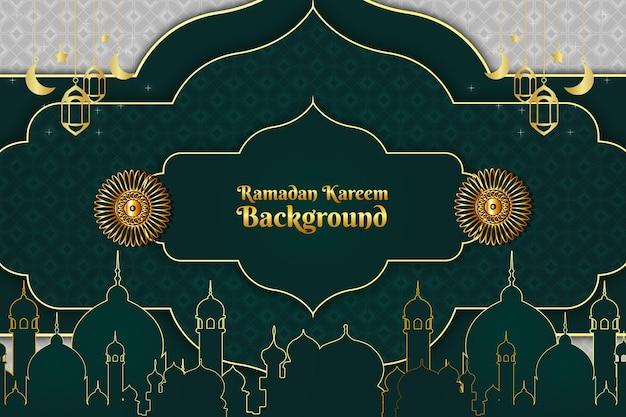 Ramadan kareem islâmico cor de fundo verde e dourado