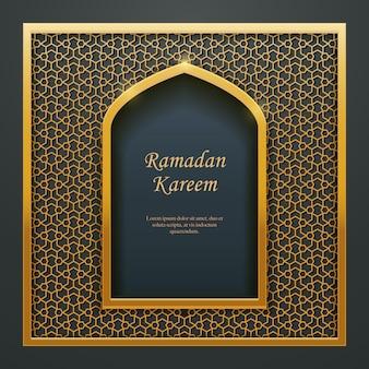 Ramadan kareem islâmico design mesquita porta janela rendilhado