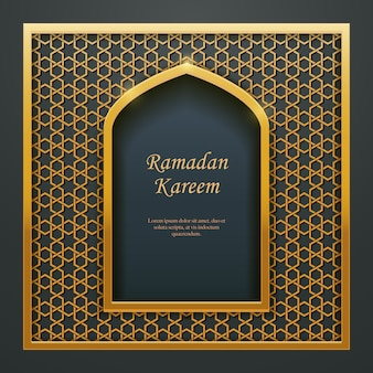 Ramadan kareem islâmico design porta janela rendilhado.