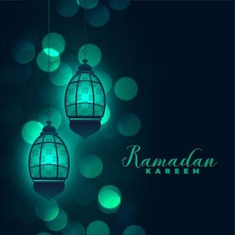 Ramadan kareem lamps on bokeh background