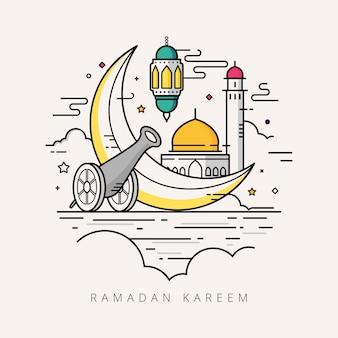 Ramadan kareem linha arte design