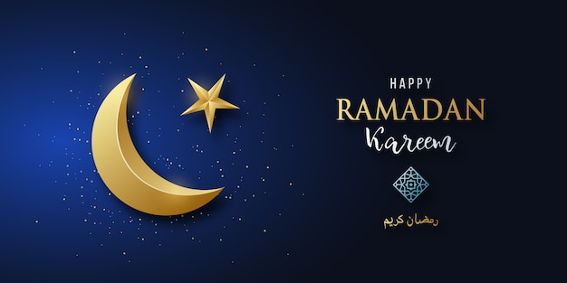 Ramadan kareem. lua crescente dourada brilhante no fundo azul.