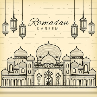 Ramadan kareem mão desenhada