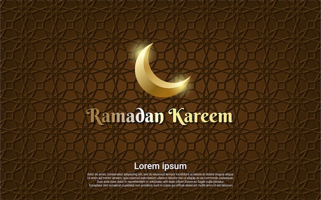 Ramadan kareem marrom com fundo de lua