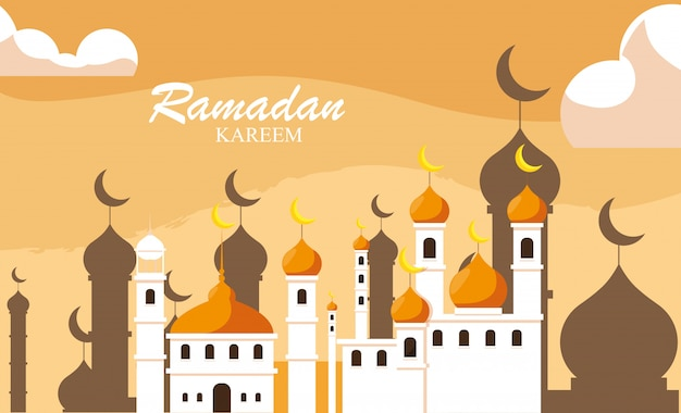 Ramadan kareem mesquita construção tradicional