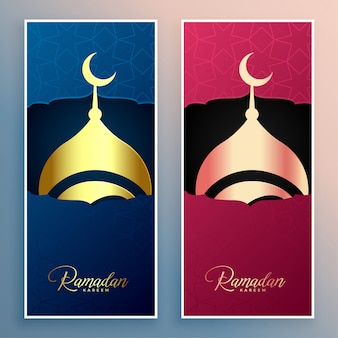 Ramadan kareem mesquita design banner conjunto
